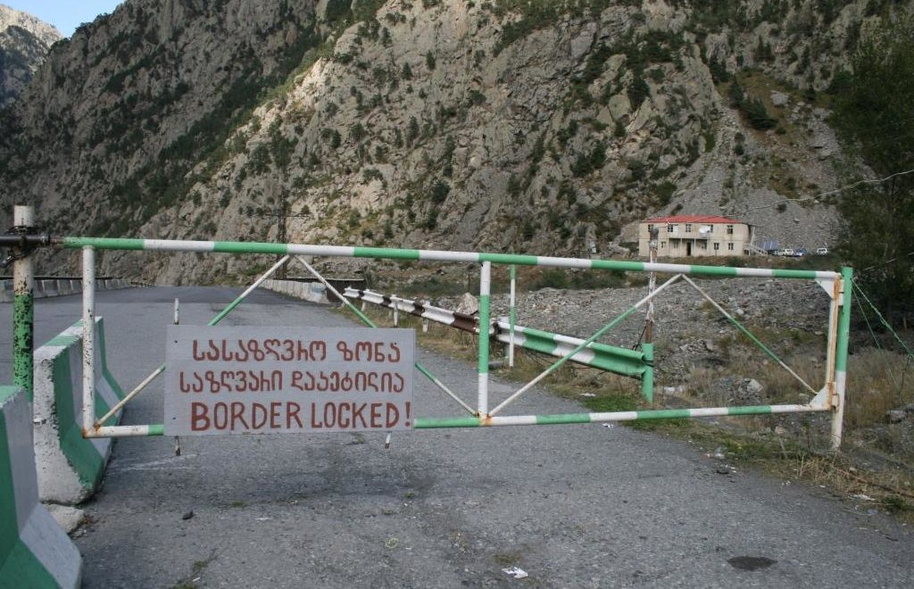 Georgia-Russia border in the Dariali Gorge