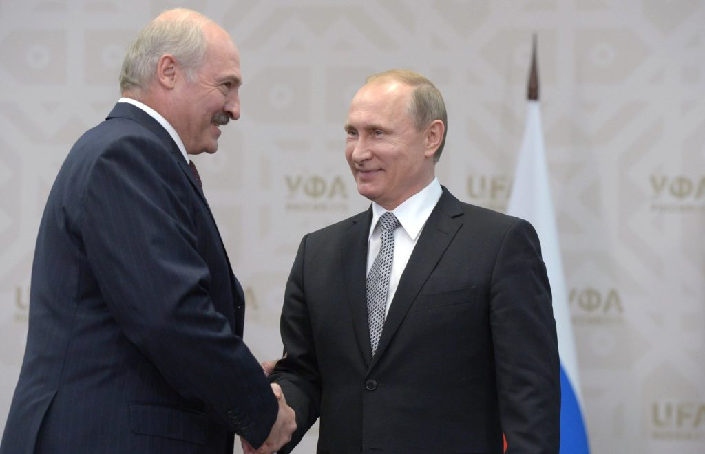 Vladimir Putin and Aleksandr Lukashenko BRICS summit 2015 03